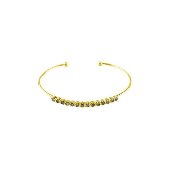 Dainty Single Line Gold Stackable Cuff with Clear Stones ( 827 )