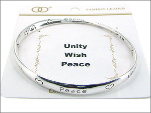 Twisted Inspirational Silver Bangle with Unity Wish Peace Inscription