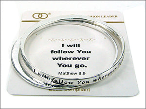 2 Piece Inspirational Silver Bangle with Matthew 8:9 Inscription