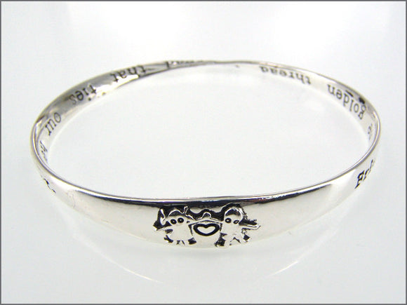 Inspirational Silver Bangle with Friendship Inscription