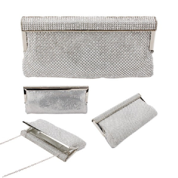Silver Soft Mesh Metal Evening Bag with Clear Rhinestones