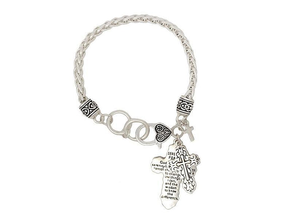 WORN SILVER BRACELET CROSS CHARMS ( 00063 WS )
