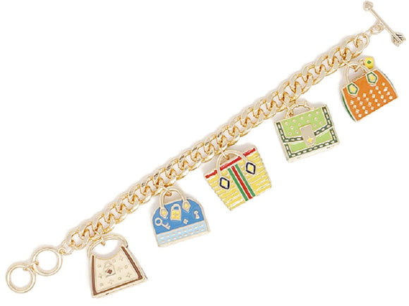 Gold Charm Bracelet with Dangling Bags and Purses ( 00170 )