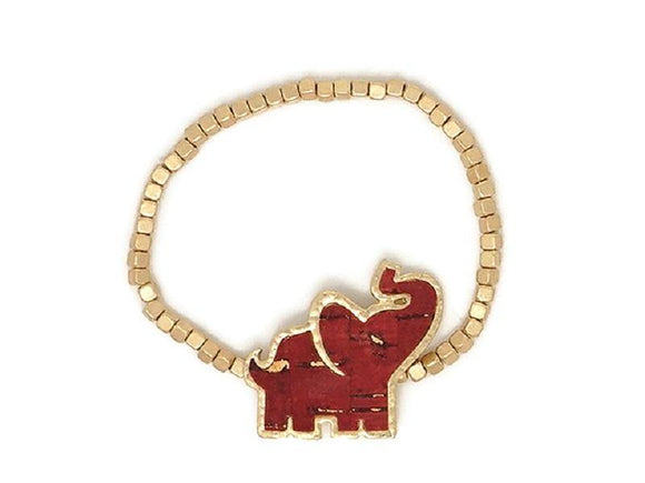 GOLD AND RED ELEPHANT STRETCH BRACELET ( 00410 )