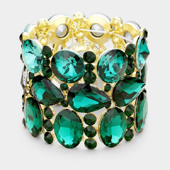 Gold Emerald Green Oval, Teardrop, and Round Shape Formal Stretch Bracelet ( 0036 )