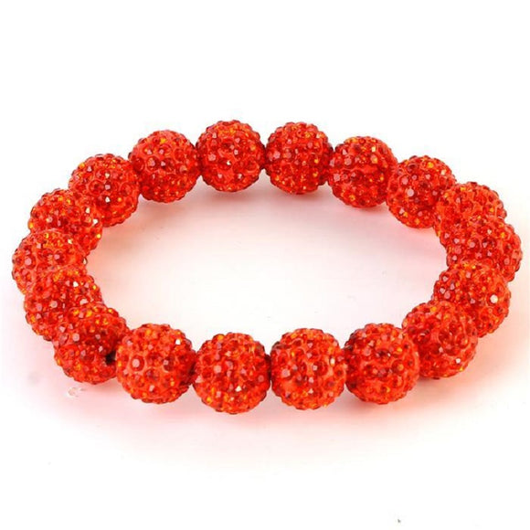 Orange Rhinestone Ball Stretch Bracelet ( 0073 )