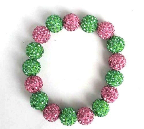 Pink and Green Rhinestone Stretch Bracelet