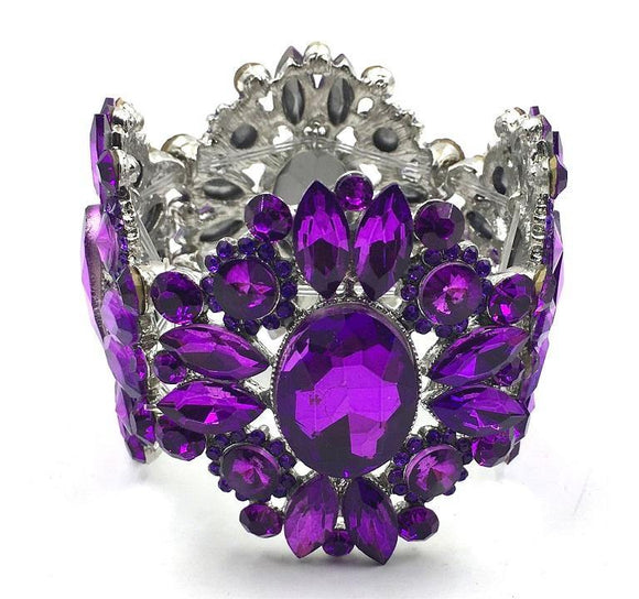 Silver Purple Crystal Stretch Bracelet ( 0087 )