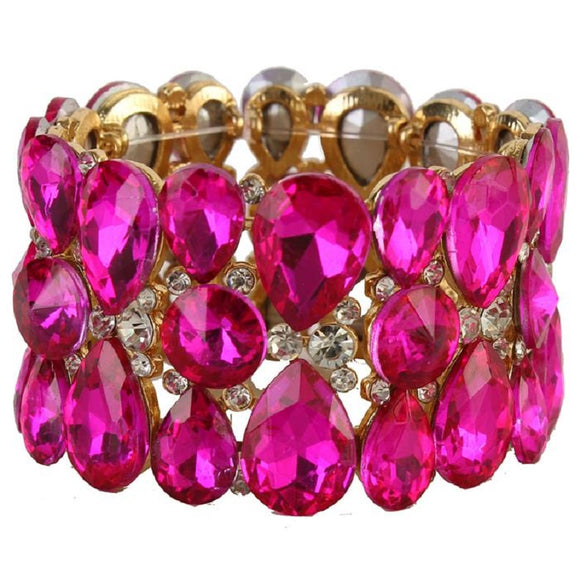 Gold Fuchsia Pink Teardrop and Round Crystal Formal Stretch Bracelet ( 0091 )