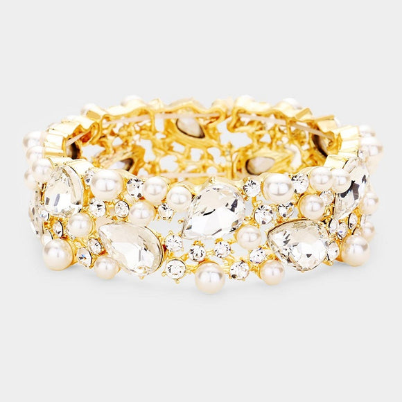 Gold with Cream Pearls and Teardrop Clear Stones Formal Stretch Bracelet ( 0110 )