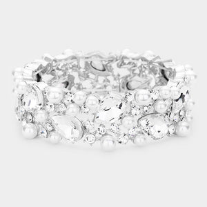 Silver with White Pearls and Teardrop Clear Stones Formal Stretch Bracelet ( 0110 )