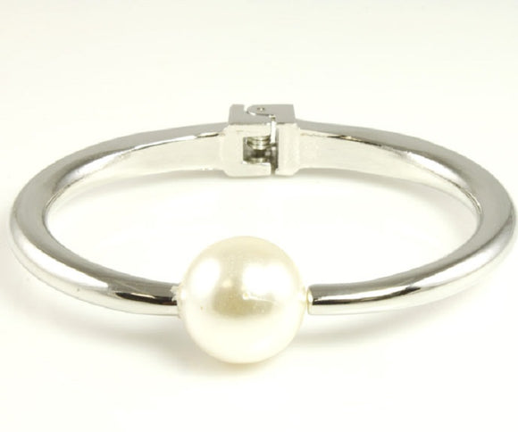 Silver Hinged Bangle with White Pearl ( 5367 )
