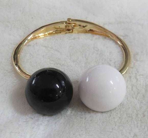 Gold Hinged Cuff Bracelet with Black & White Balls ( 3342 )