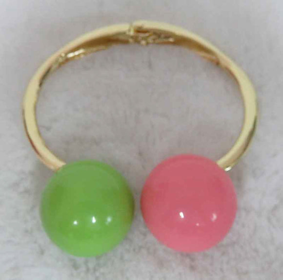 Gold Hinged Cuff Bracelet with Pink and Green Balls ( 3342 )