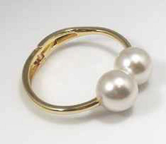 GOLD HINGED CUFF BRACELET WITH CREAM PEARL BALLS ( 3342 )