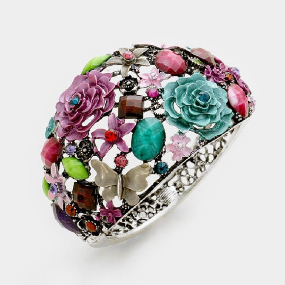 Multi Color Flower Theme Silver Hinged Bangle ( 493 )
