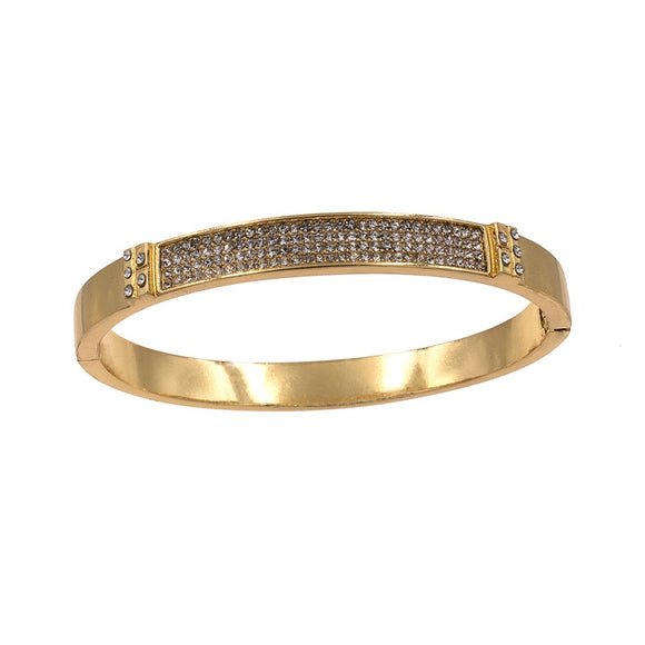 Gold Hinged Crystal Bangle Bracelet ( 5364 )