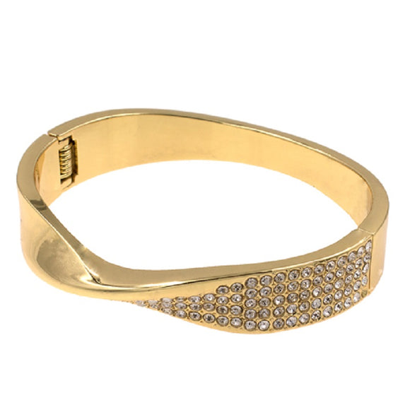 Gold Hinged Twist Crystal Bangle Bracelet ( 5365 )