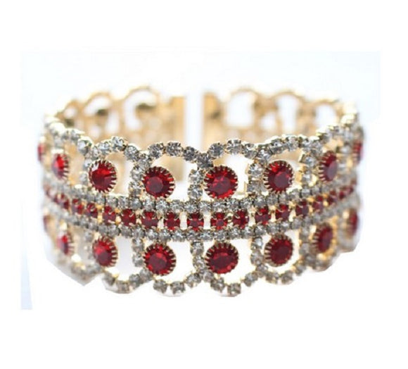 Red and Clear Pave Rhinestone Cuff ( 2034 )