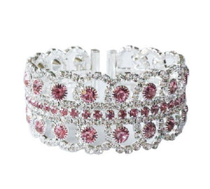 Pink and Clear Pave Rhinestone Cuff ( 2034 )