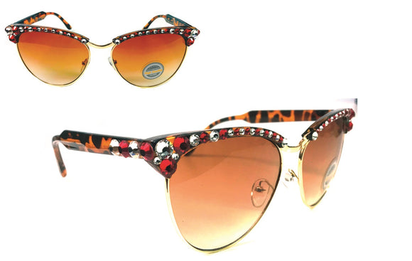 GOLD RIM RED AND WHITE SWAROVSKI CRYSTAL SUNGLASSES ( 1037 )