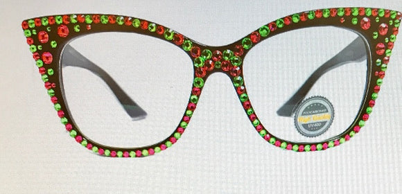 Tortoise Brown Frame with Pink and Green Swarovski Stones Fashion Sunglasses UV 400 ( 1071 )