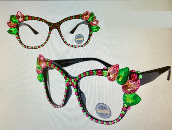 Black Frame with Pink and Green Swarovski Stones Fashion Sunglasses UV 400 ( 1073 )