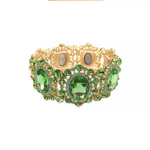 Oval and Round Lime Green Rhinestone Stretch Bracelet with Gold Accents