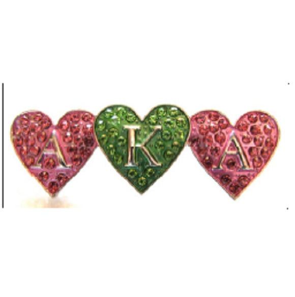Pink and Green Rhinestone Triple AKA Heart Brooch ( 2716 )