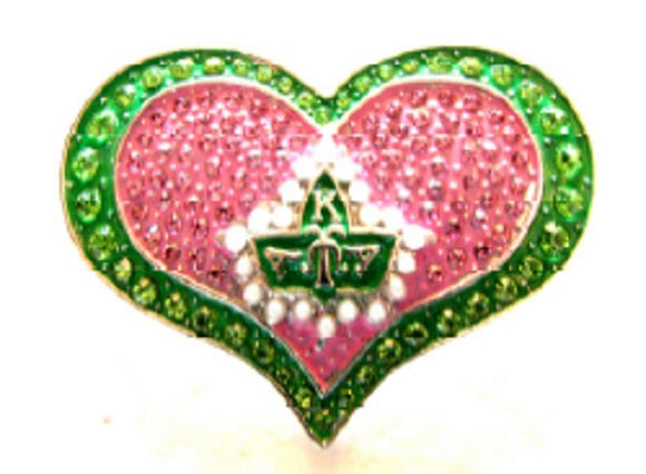 Rhinestone Pink and Green AKA Heart Sorority Brooch ( 2728 )
