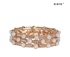 Gold Stretch Bracelet with Rhinestones and Cream Pearls