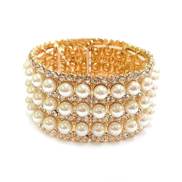 Gold with Cream Pearl Stretch Formal Bracelet ( 114 GCR )
