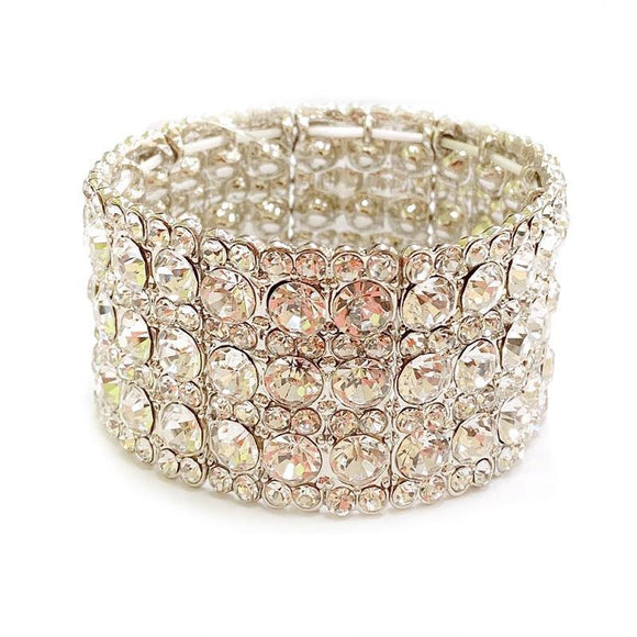 Silver Clear Rhinestone Stretch Formal Bracelet ( 114 RCL )