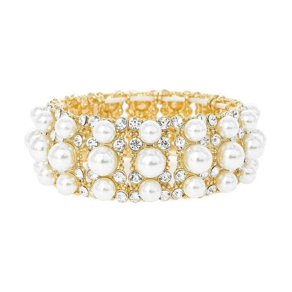 GOLD STRETCH BRACELET WITH CLEAR STONES CREAM PEARLS ( 118 GCR )