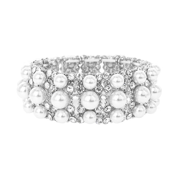 SILVER STRETCH BRACELET WITH CLEAR STONES WHITE PEARLS ( 118 )