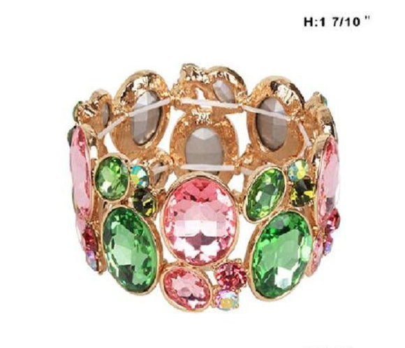 Pink and Green Stone Stretch Bracelet with Gold Accents ( 6 )