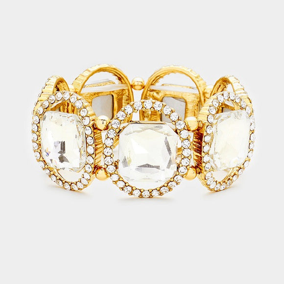 Square and Oval Gold Accent and Clear Stone Stretch Formal Bracelet ( 1620 )