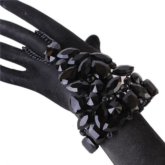 Black Abstract Stretch Chain Bracelet Attached to Ring ( 0165 )