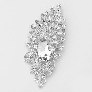 SILVER FLORAL BROOCH WITH CLEAR RHINESTONES ( 06236 )