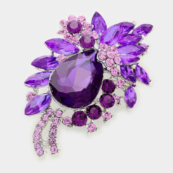 SILVER BROOCH WITH PURPLE RHINESTONES ( 06334 PP )