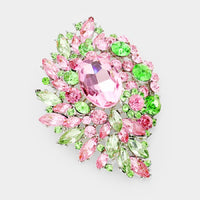 SILVER BROOCH WITH PINK AND GREEN STONES ( 06399 )