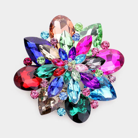 SILVER BROOCH WITH MULTI COLOR RHINESTONES ( 06672 )