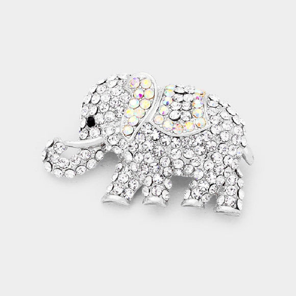 SILVER ELEPHANT BROOCH WITH CLEAR AB STONES ( 1237 )