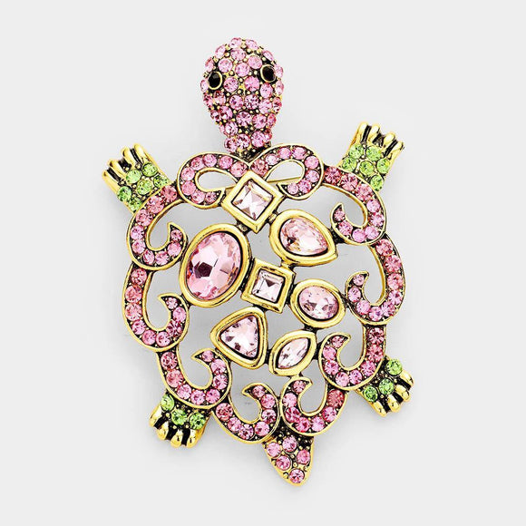 GOLD TURTLE BROOCH PINK AND GREEN STONES ( 1342 ) - Ohmyjewelry.com