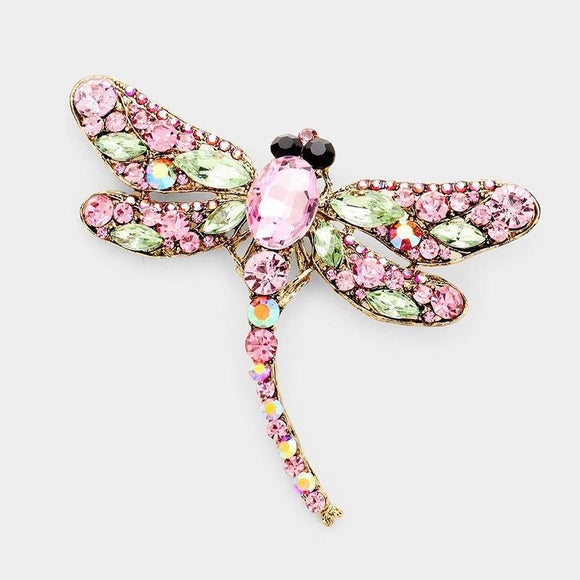 GOLD DRAGONFLY BROOCH WITH PINK AND GREEN RHINESTONES ( 1345 ) - Ohmyjewelry.com