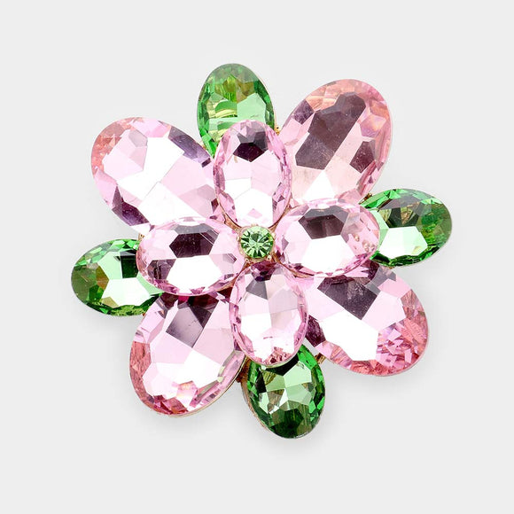 GOLD FLOWER BROOCH WITH PINK AND GREEN STONES ( 1371 )