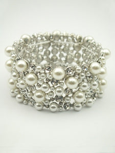 White Pearl Beaded and Clear Rhinestone Stretch Bracelet ( 0126 )