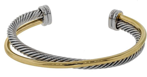 TWO TONE TWISTED CUFF BRACELET ( 8375 )