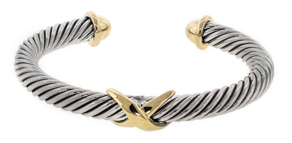 TWO TONE TWISTED CUFF BRACELET WITH X DESIGN ( 5379 )