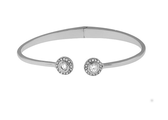 Silver Hinged Cuff Bracelet with Halo Style Round CZ Stones